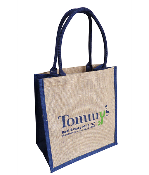 Reusable burlap fabric stenciled tote bag with handle