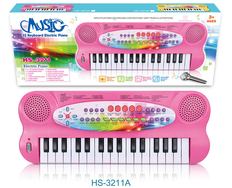 32-key pink electric piano for girls