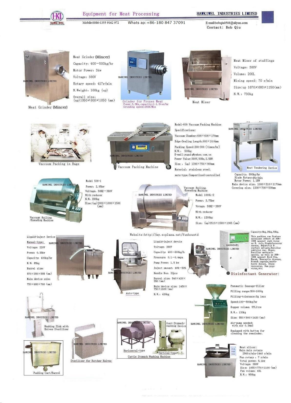 equipment for meat processing