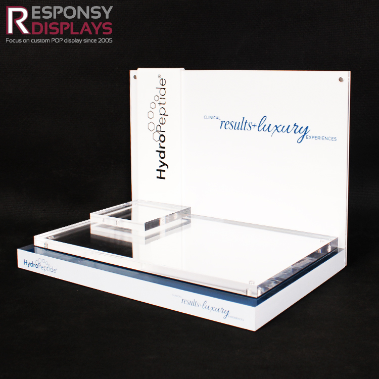 Luxury Clear And White Acrylic Cosmetic Tabletop Display Rack With Mirror