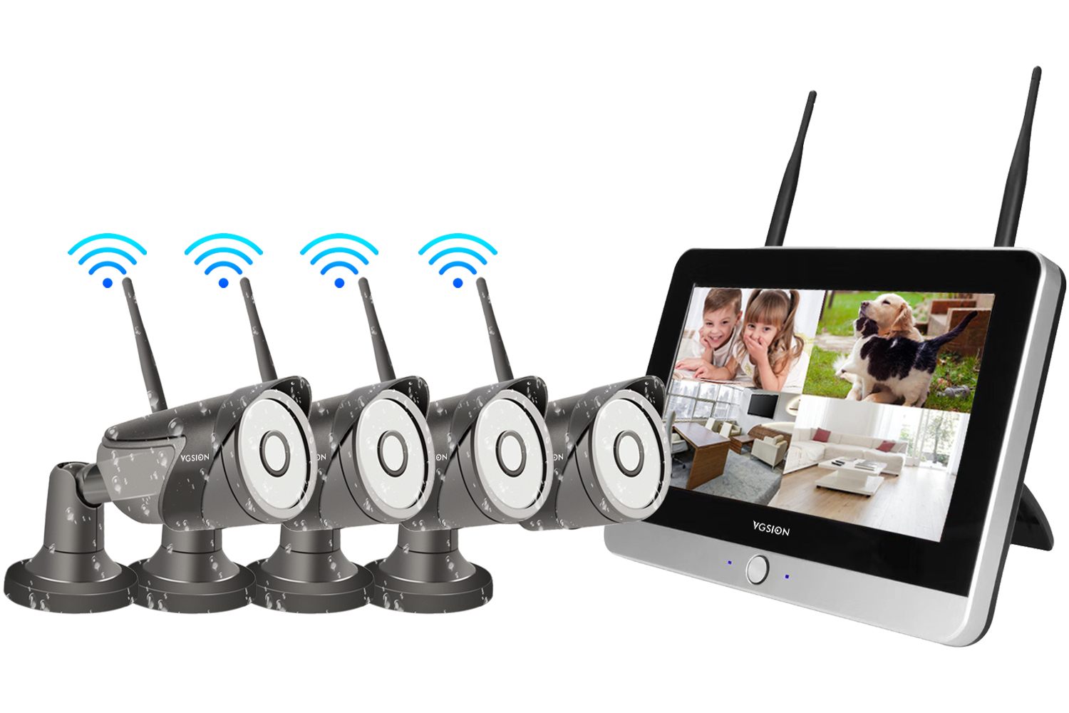 12-inch Monitor NVR WIFI IP camera Kit 4ch/8ch 960P/1080Pare optional