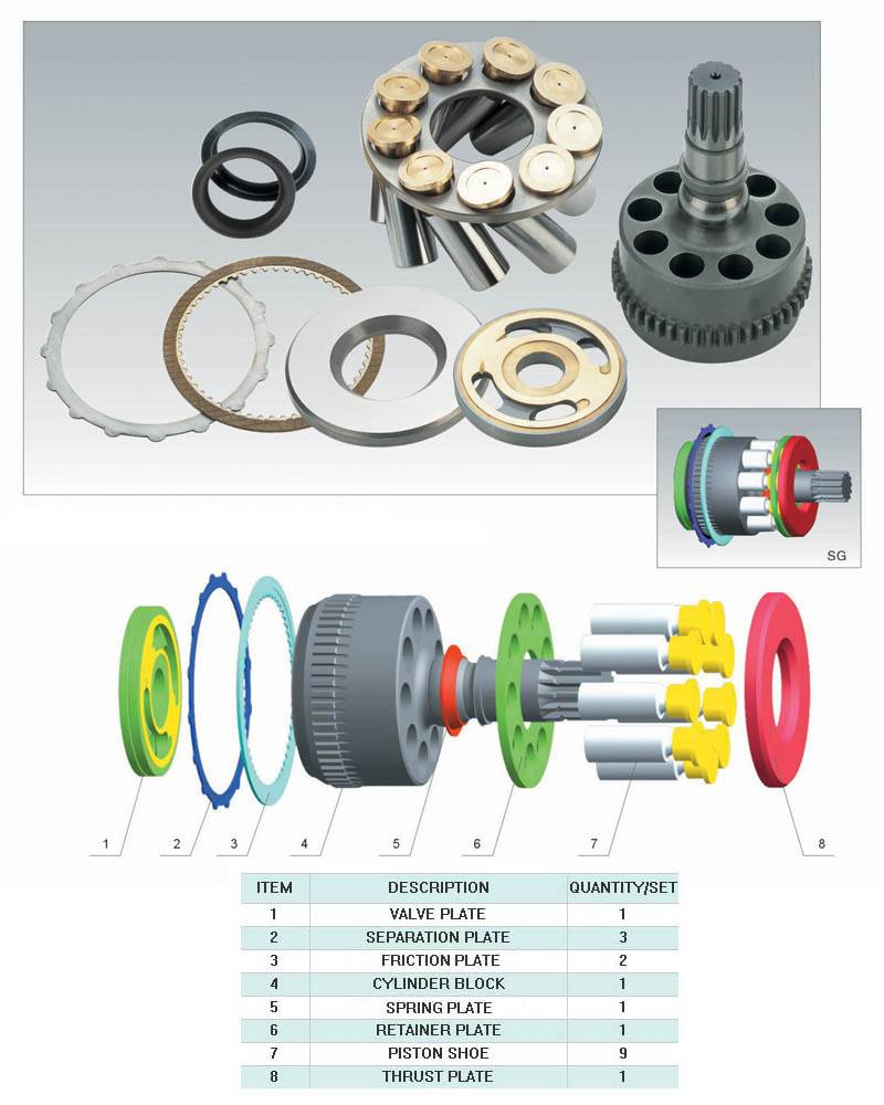 hydralic pump parts for Toshiba Series SG