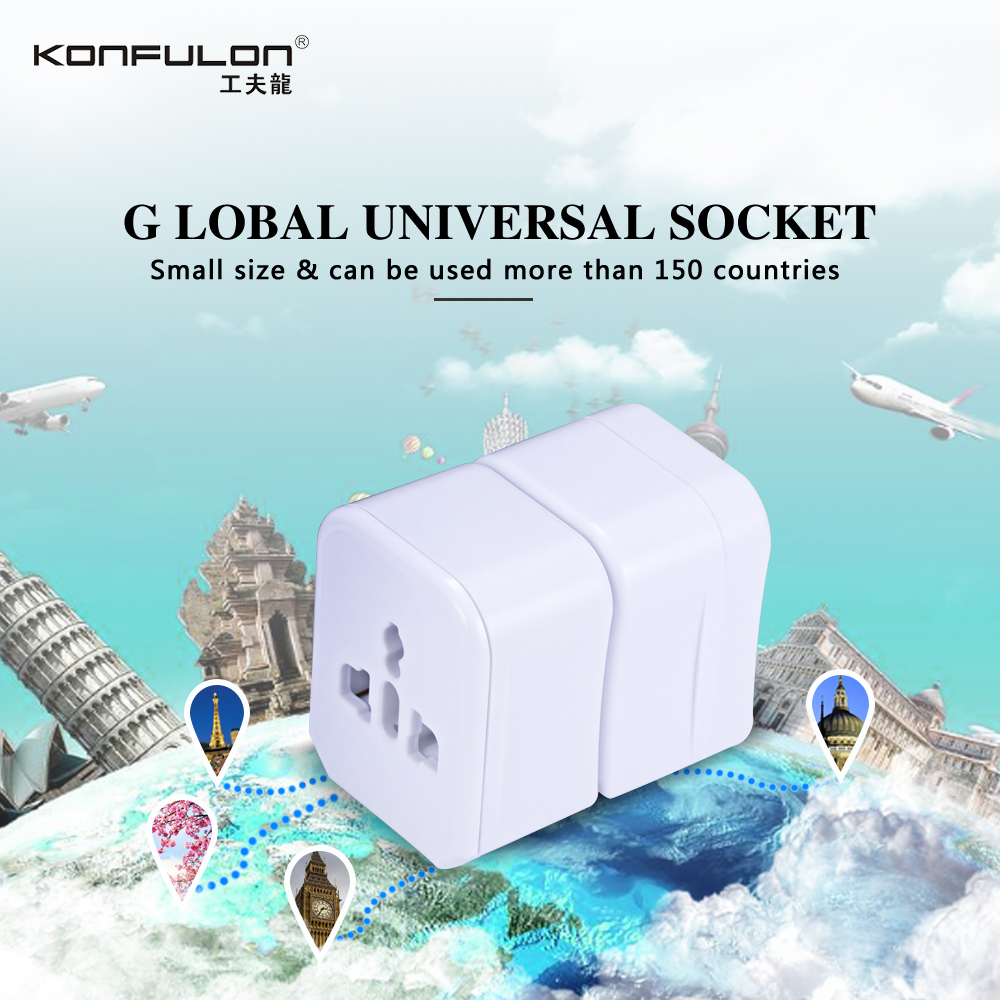 Konfulon Power Converter Used Worldwide, Universal Travel Adapter, Small AC Wall Plug for Traveling