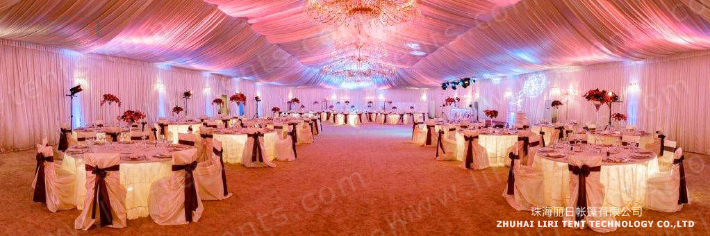 1000 People Party Tent with Luxury Roof Lining and Curtains