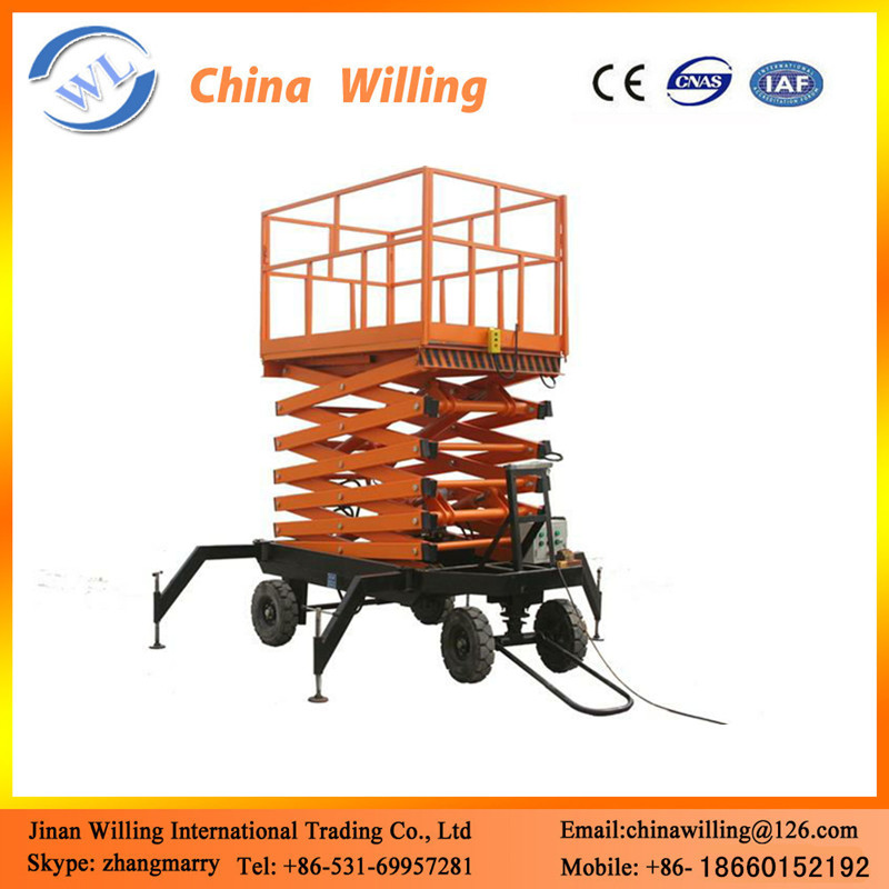 Hydraulic scissor lift four wheels mobile scissor lift