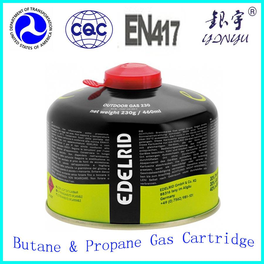 Small empty propane gas cylinder for 230g 450g camping gas