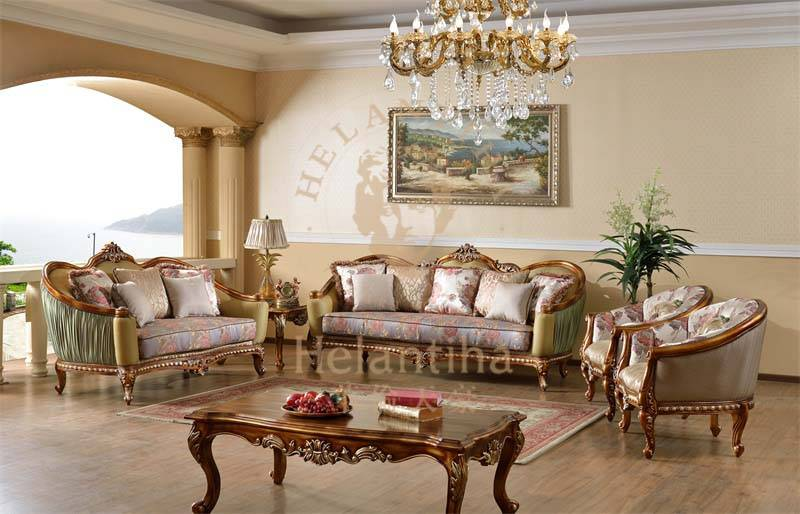 Luxury European Classic French Antique Living Room Sofa Set for Hotel