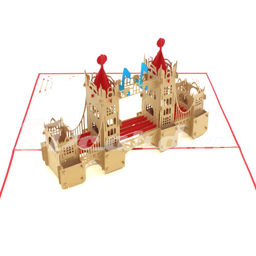 Tower Bridge 1-3d card-pop up card-handmade card-famous building card-birthday card-laser cut
