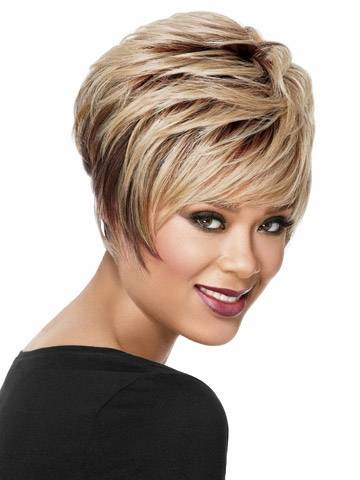 short wavy ombre blonde brown synthetic wigs for women