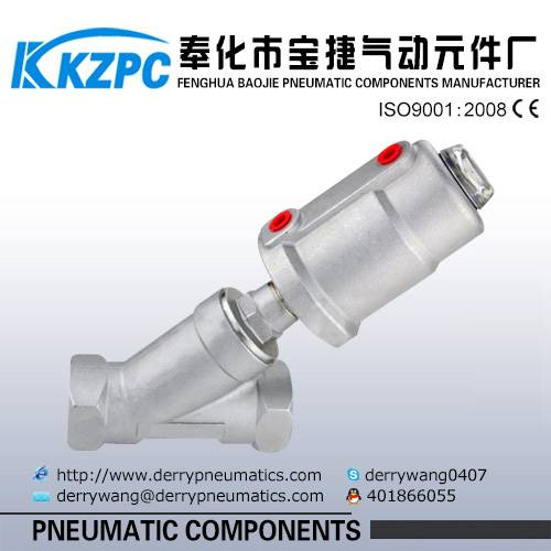 stainless steel pneumatic control piston angle seat valve DN25