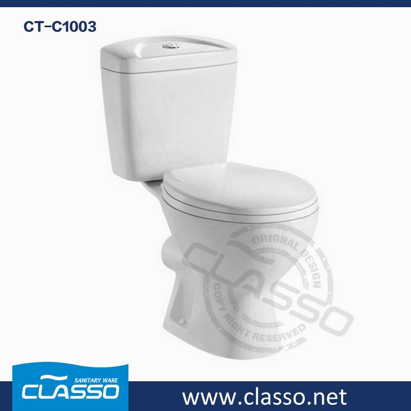 Bathroom Ceramic Sanitary Ware washdown toilet new design 4-inch CLASSO two piece closet CT-C1003