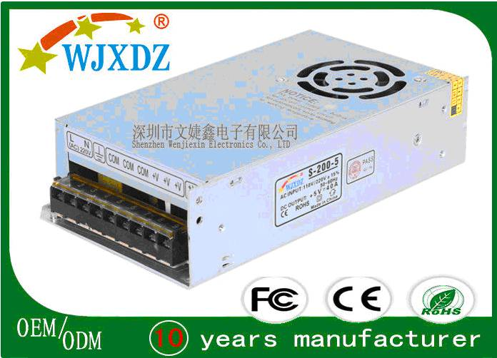Military Project 5V 40A LED Switching Power Supply AC To DC Passes 5G Vibration Test