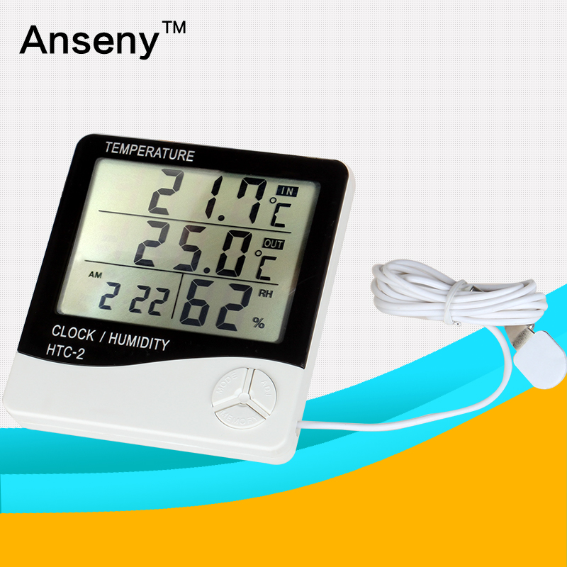 Large LCD digital thermometer and hydrometer temperature humidity meter with time clock
