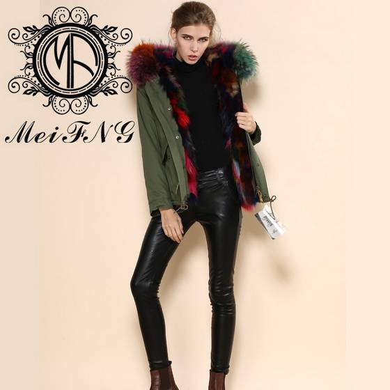 Luxury women's faux fur coats with fox lining