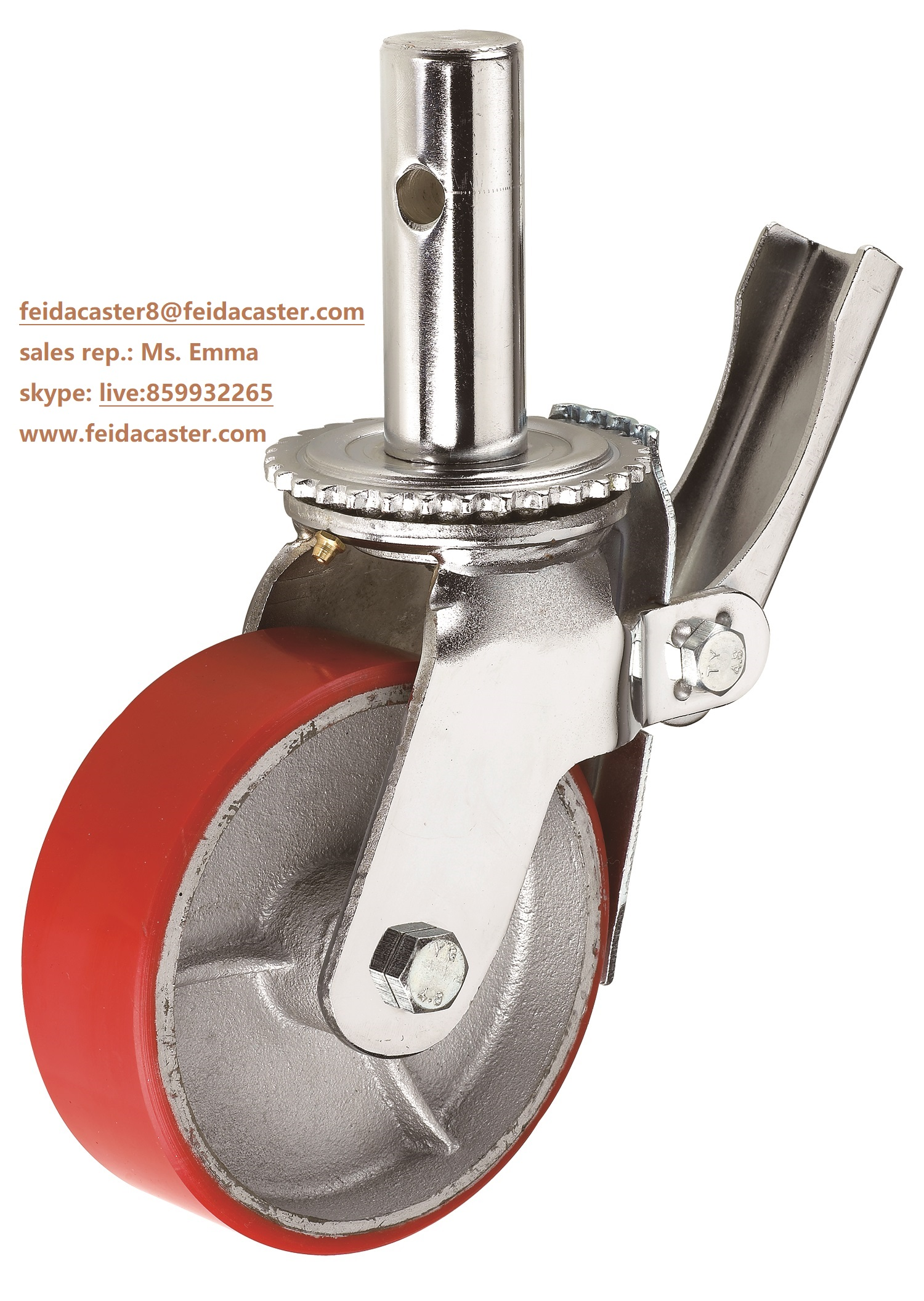 [Feida]Scaffolding caster heavy duty PU casting iron load heavy weight caster manufacturer