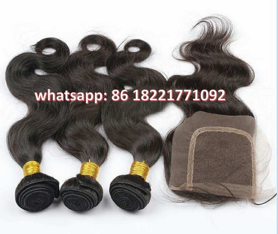 Brazilian Virgin Hair Body Wave Hair Weave 100% Unprocessed Raw Human Hair Extension with Closures
