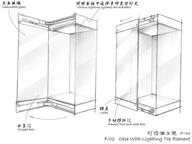 Museum Free standing display cases - Case With Lighting Top Element F-02