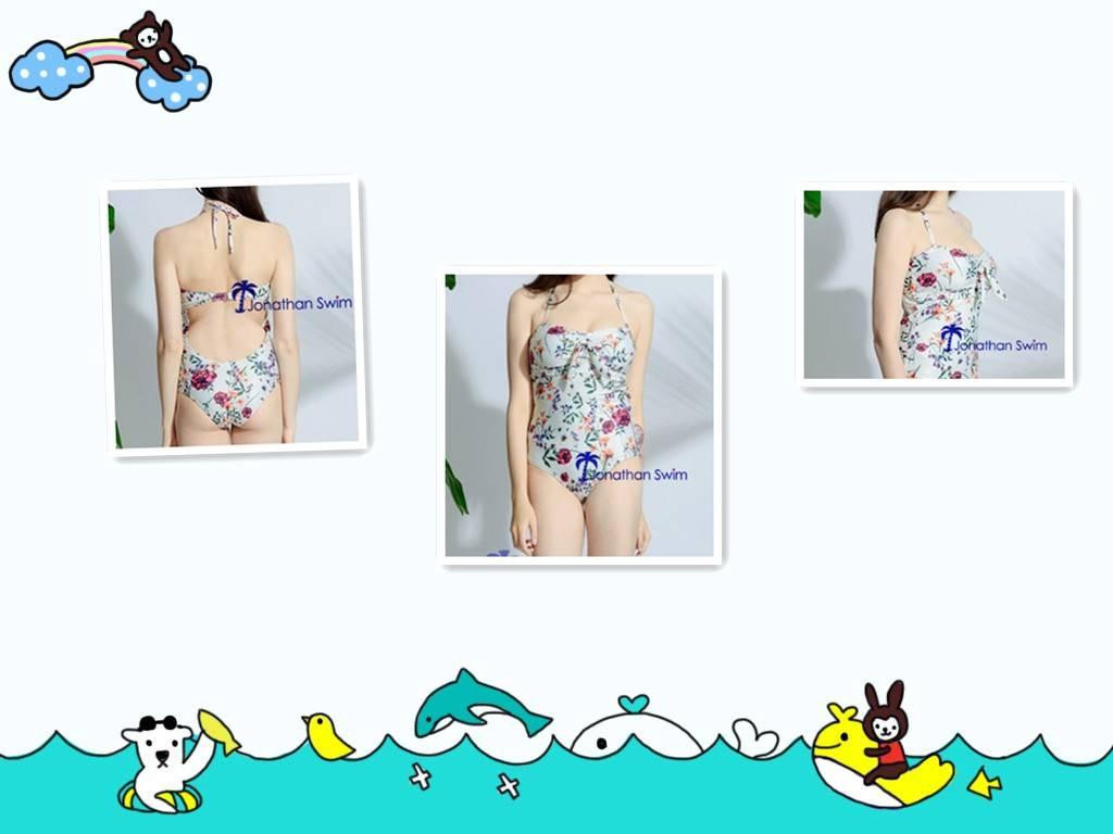 Women's beautiful flower print high cut halter one piece swimwear.