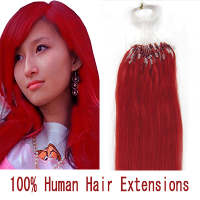 "100S 24"" RED 0.7G MICRO LOOP REMY HUMAN HAIR EXTENSIONS"
