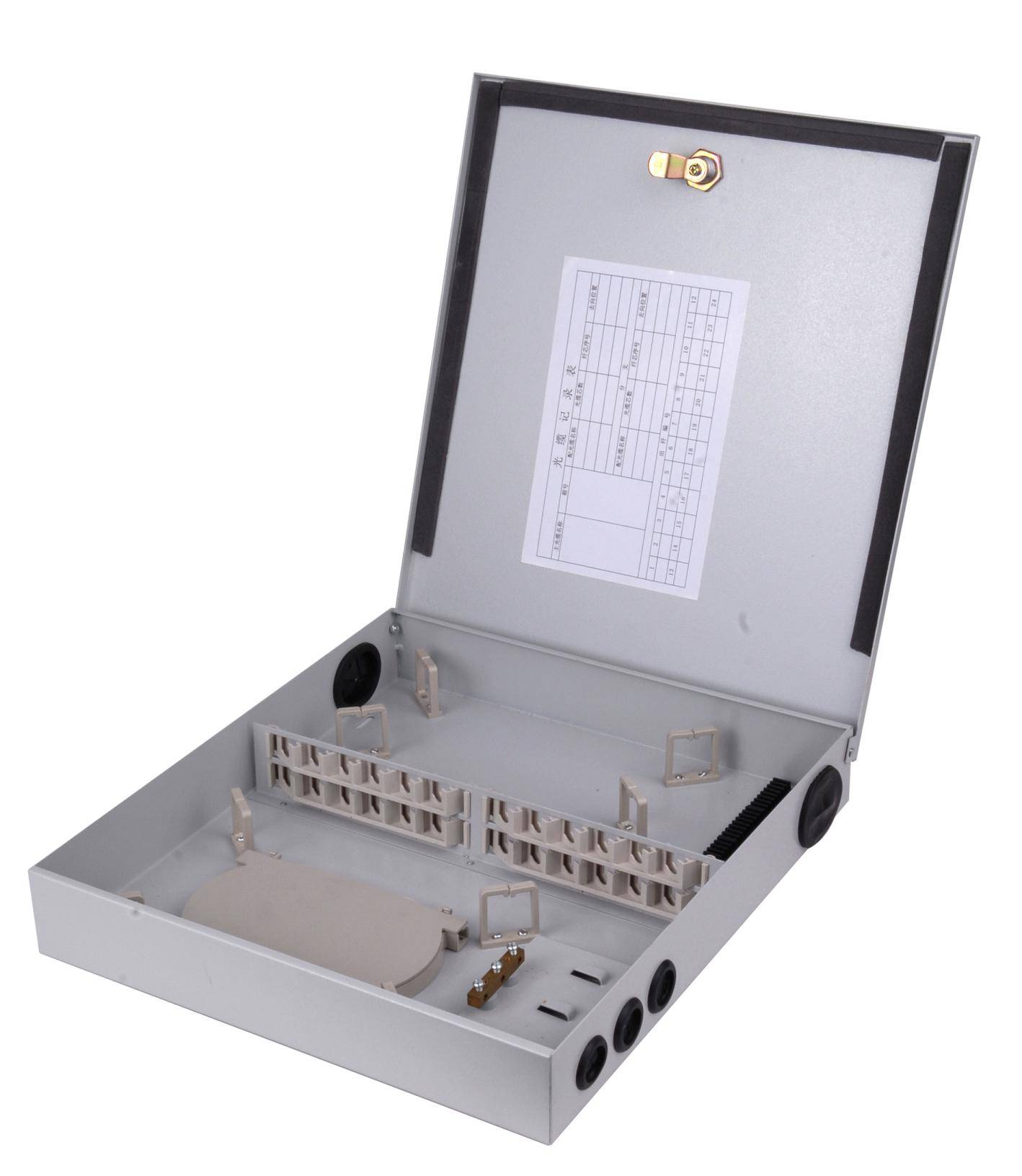 outdoor/indoor 12/24 core FTTH Fiber optic Distribution box Metal Material