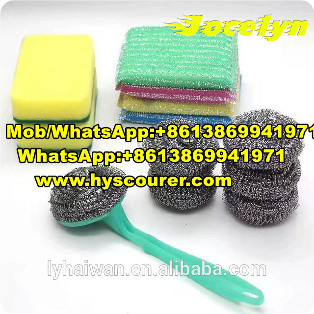 Kitchen cleaning jacquard sponge scrubber scouring pads