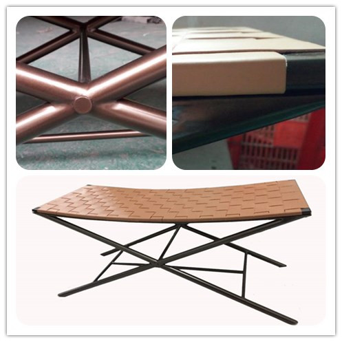 Comfortable Modern Style Leather Weaving Metal Luggage Bench In Powdercoat for Hotel Furniture