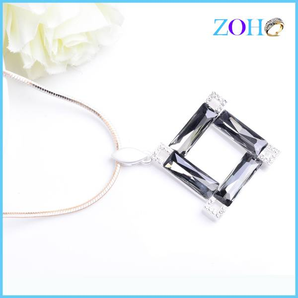 Hot popular hollow crystal pendant white gold plating simple design sweater necklace chain