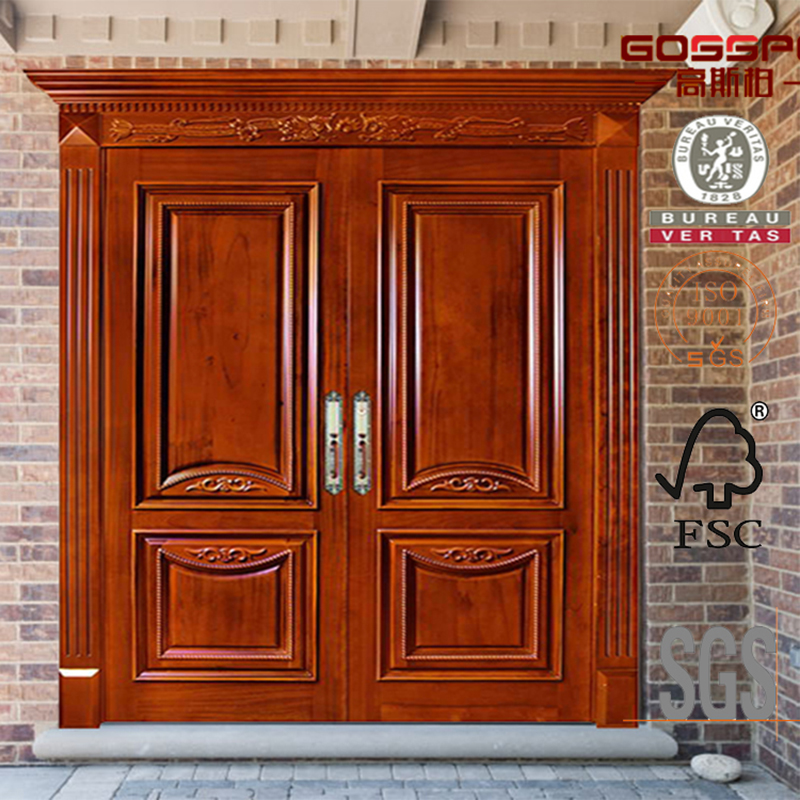 Main Double Mahogany Solid Wood Door For Houses