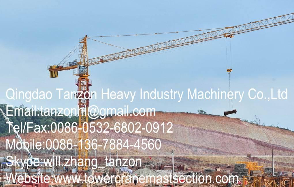 TC6013-8 China Leg Fixing Type Construction Tower Crane For Civil Buildings 60m Jib Length