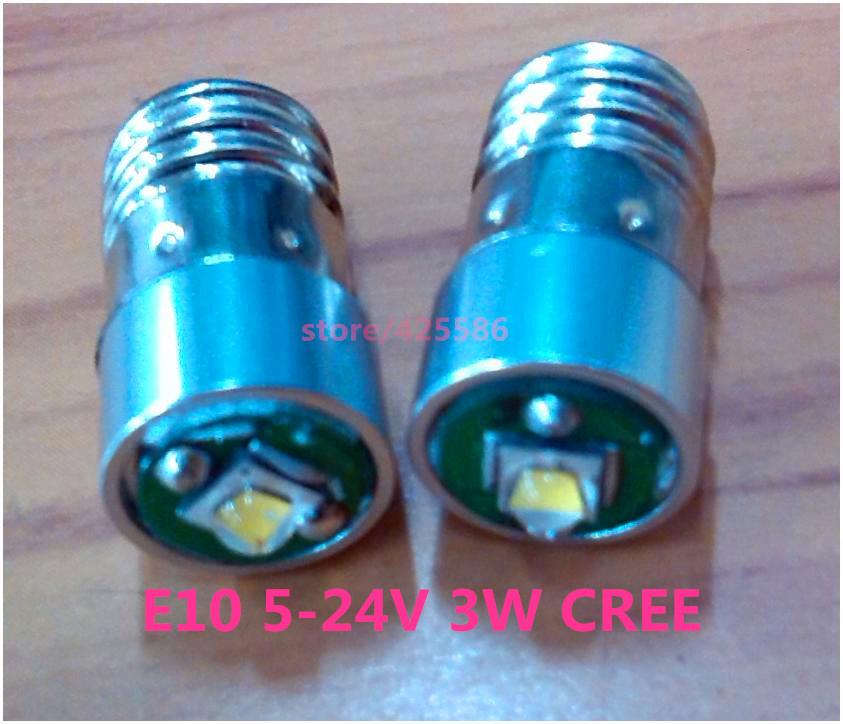 E10 screw base E10 3W LED flashlight bulb 3V 4.5V 6v 18V 24V 3W