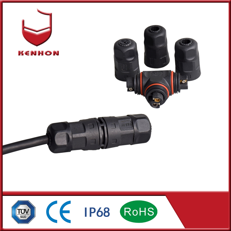 M20 assembled IP68 2 pin waterproof panel connector for electrical LED outdoor lighting