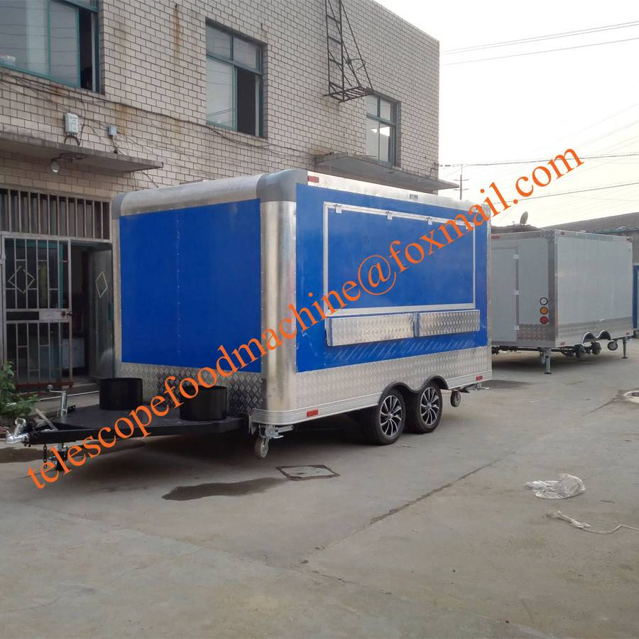 Blue color fast food truck food trailer for sale europe crepe mobile fryer cart