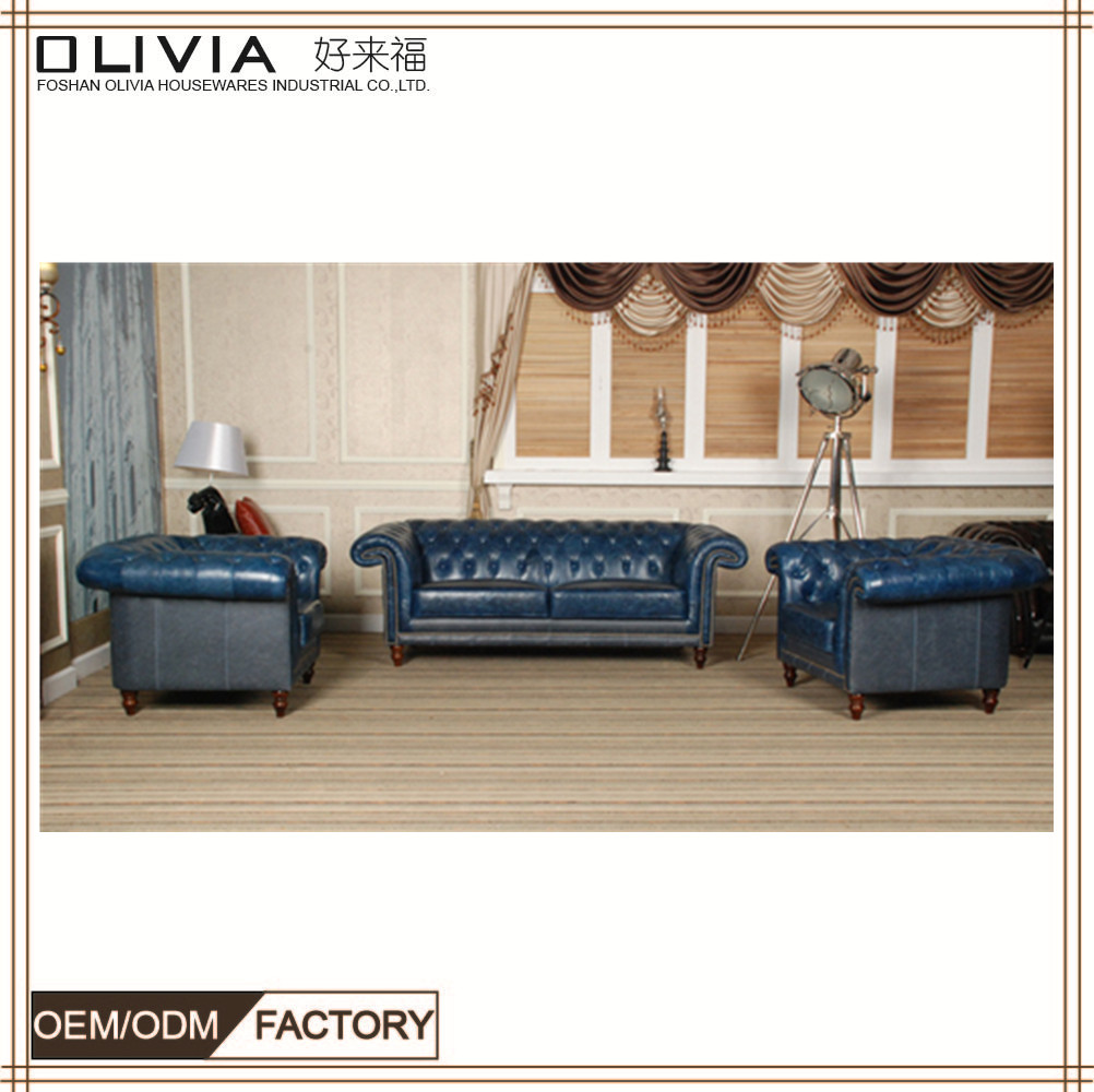 Classic American Furniture Leather Wooden Sofa Home Use Factory