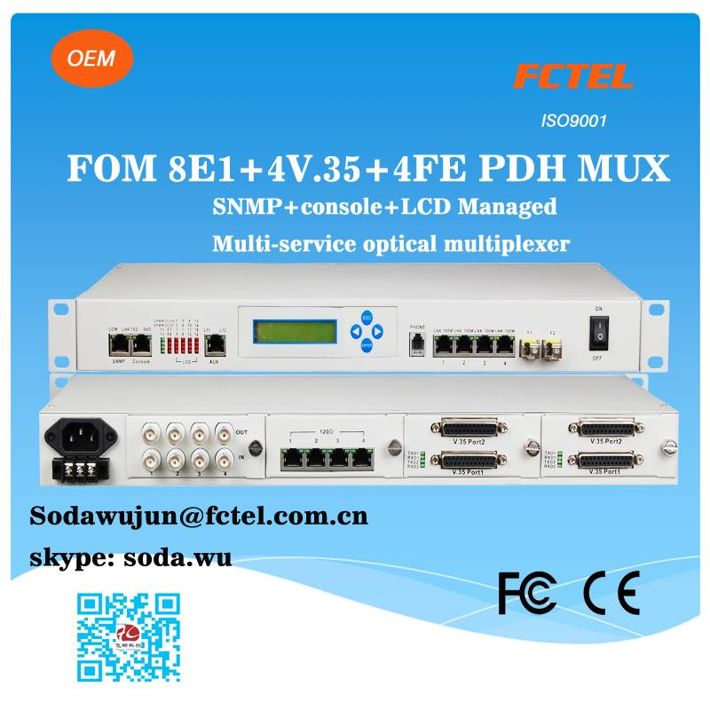 4slots modular 8e1 4v.35 4fe optical pdh transmitter and receiver