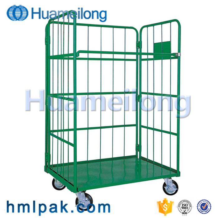 Heavy duty high quality china foldablecollapsible mesh storage roll cage four wheels
