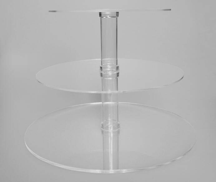Detachable 3 tiers clear acrylic cake stand