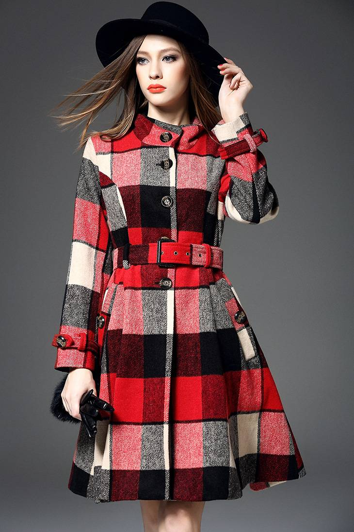 2015 popular in alibaba fashion lattice stand collar woolen overcoat