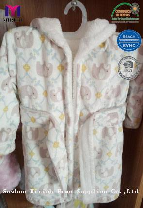 Super Soft Flannel Fleece Sweet Baby Robes Hooded Baby Robe