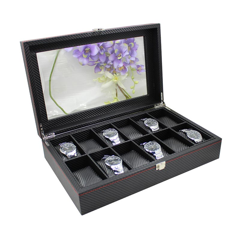 Black Leather Watch Box Wholesale Price For 12 Watches Display  Leather Watch Box Wholesale