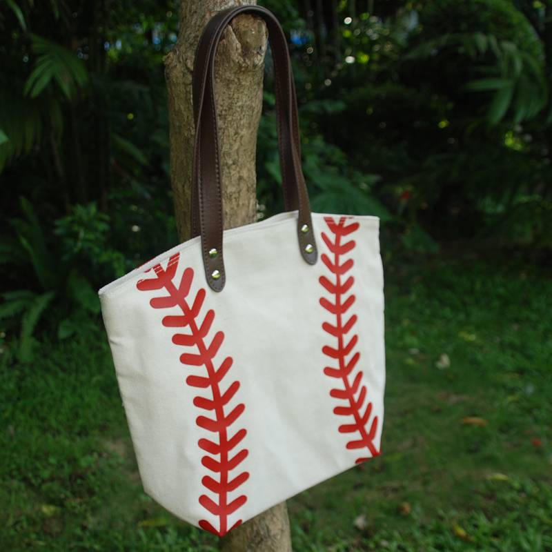 Baseball Tote Bag Handbag in White and Yellow for Kids