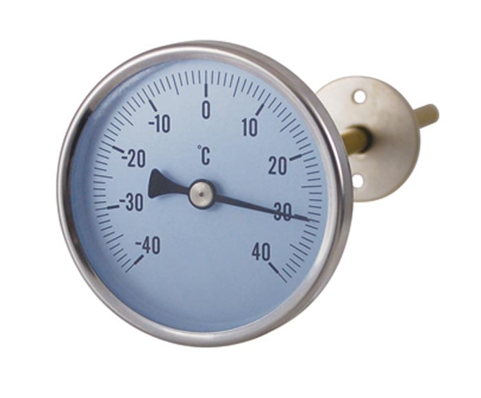 Economic HVAC bimetal thermometer with adjustable flange