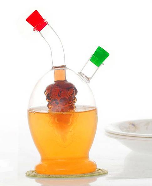 decorative oil and vinegar glass cruets