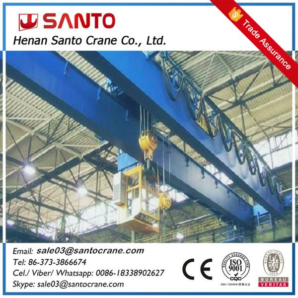 CE ISO approved heavy duty electric double girder electric hoist overhead crane with hook