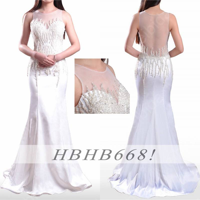 Wholesale Sexy Backless Mermaid Prom Dress Beaded Long Evening Dress