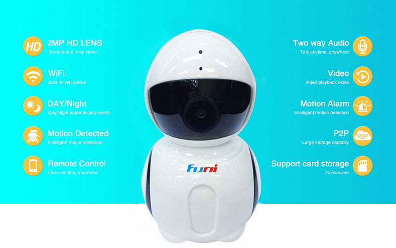 Funi V3607 1080P WIFI IP Camera Onvif Fisheye Panorama 5MP Lens IR Night Vision HD Security CCTV Cam