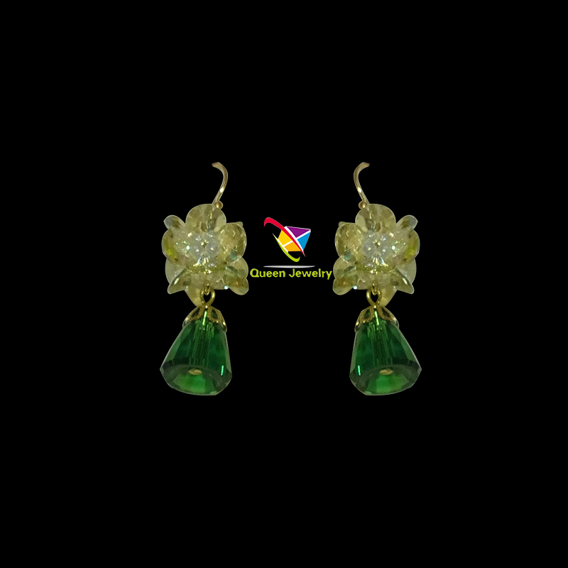 New Luxury Fashion European CZ Champagne Green Austrian Crystals Drop Earrings