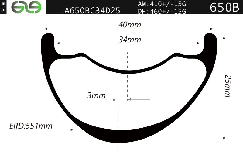 A650BC34D25 27.A650BC34,27.5er/650b rims, 40mm wide Enduro, All Mountain, Downhill, Asymmetrical Rim