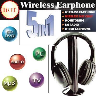 Wireless Earphone Headphone 5 in 1 for MP3 PC TV CD