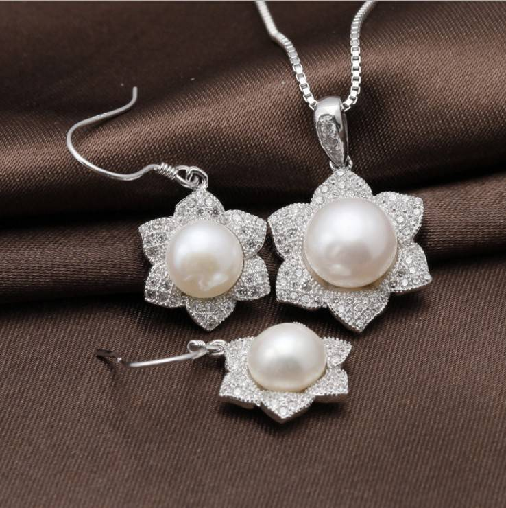 925 sterling silver jewelry set with freshwater pearl 9mm