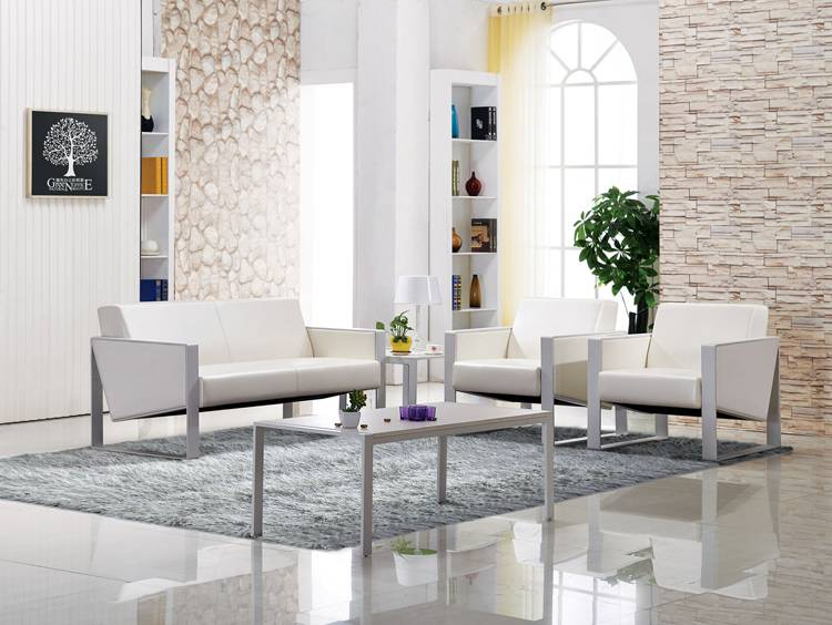 High quality PU/Leather upholstered office sofa with metal frame base